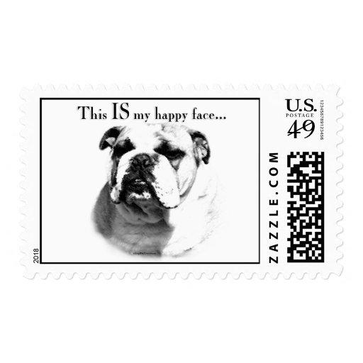 Bulldog Happy Face Stamp