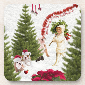 Bulldog Have Yourself a Merry Little Christmas Drink Coaster