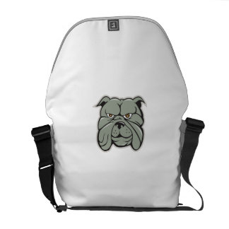 Bulldog Head Isolated Cartoon Messenger Bag