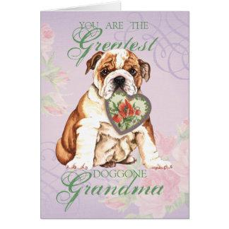 Bulldog Heart Grandma Card