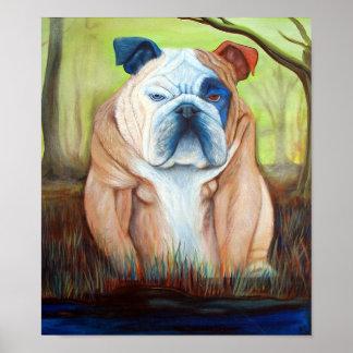 Bulldog In A Bog Poster