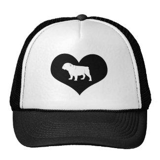 Bulldog in a Heart Trucker Hat