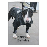 Bulldog in Gothic Outfit Happy Birthday Card Greeting Card