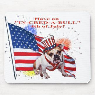 Bulldog - Independence Day Celebration Mouse Pad
