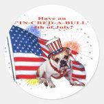 Bulldog - Independence Day Celebration Classic Round Sticker