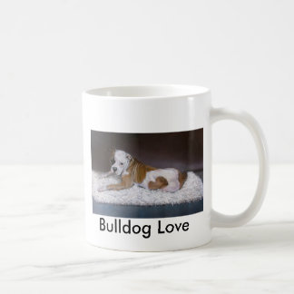 Bulldog Love. American Bulldog Painting Classic White Coffee Mug