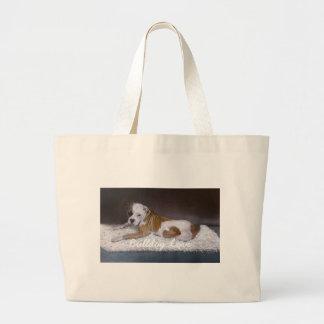 Bulldog Love. American Bulldog Painting Large Tote Bag