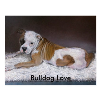 Bulldog Love. American Bulldog Painting Postcard