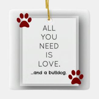 Bulldog Love Ceramic Ornament