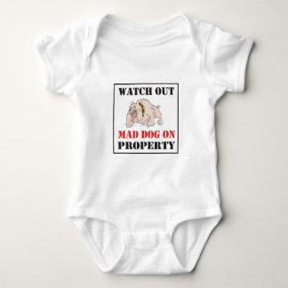 Bulldog ~ Mad Dog On Property Baby Bodysuit