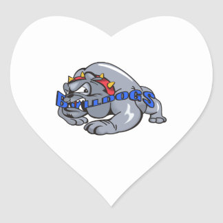 BULLDOG MASCOT HEART STICKER