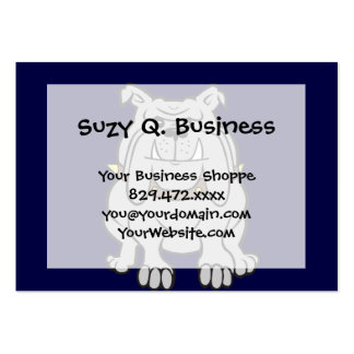 Bulldog Mascot on Blue Large Business Cards (Pack Of 100)