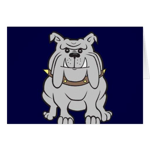 Bulldog Mascot on Blue Cards