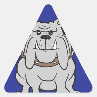 Bulldog Mascot On Blue Design Style Triangle Sticker