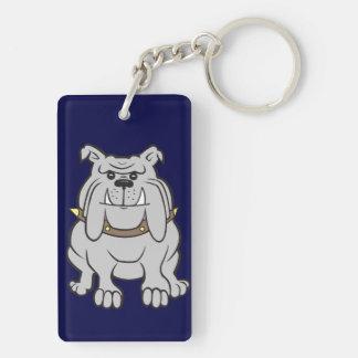 Bulldog Mascot on Blue Keychain