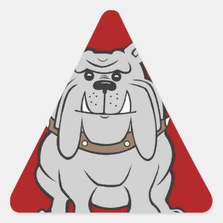Bulldog Mascot On Red Design Style Triangle Sticker