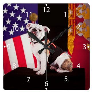 Bulldog Navy Official Mascot Dog Square Wallclock