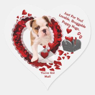 Bulldog New Puppy #3 You've Got Mail! 2nd Version Heart Sticker