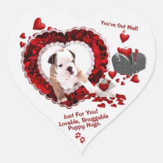 Bulldog New Puppy Number 2 You've Got Mail! Design Heart Sticker