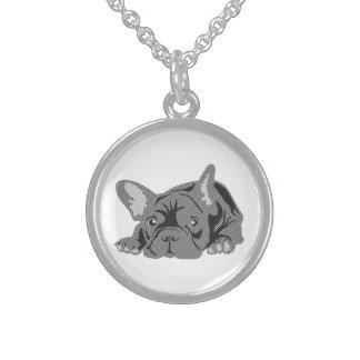 Bulldog of Lines Round Pendant Necklace