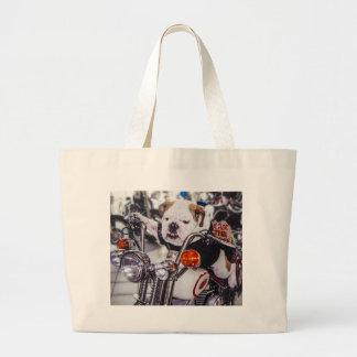 Bulldog on Motorcycle Tote Bag