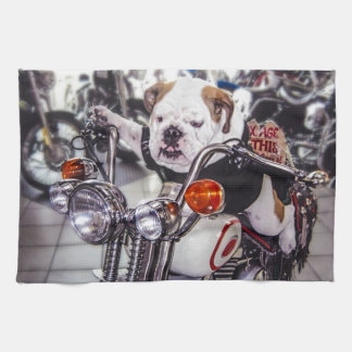 Bulldog on Motorcycle Hand Towels