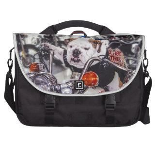Bulldog on Motorcycle Laptop Bags