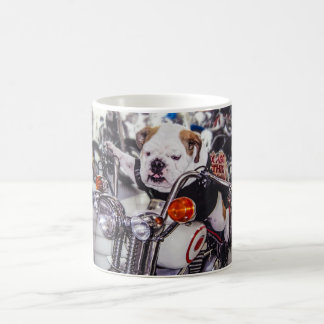 Bulldog on Motorcycle Classic White Coffee Mug