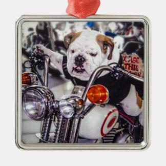 Bulldog on Motorcycle Square Metal Christmas Ornament