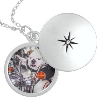 Bulldog on Motorcycle Sterling Silver Necklace