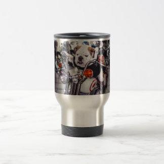 Bulldog on Motorcycle Travel Mug