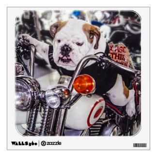 Bulldog on Motorcycle Wall Sticker