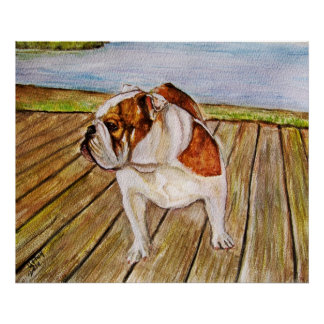Bulldog on the boardwalk print