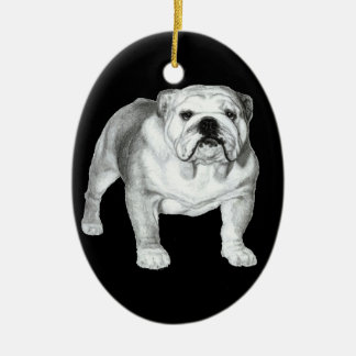 Bulldog Painting Ceramic Ornament