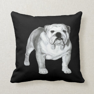 Bulldog Painting Throw Pillow