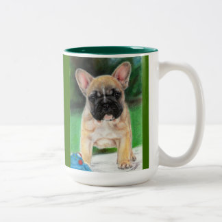 Bulldog Painting Two-Tone Coffee Mug
