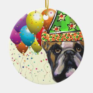 Bulldog Party Dog Ceramic Ornament