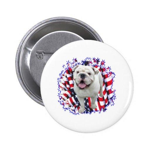 Bulldog Patriot Pinback Buttons