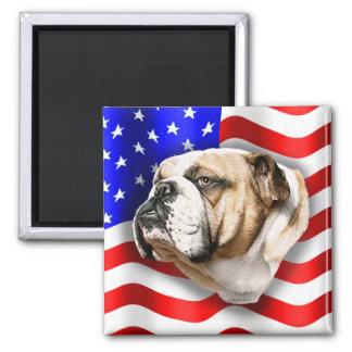 Bulldog Patriot US Flag 2 Inch Square Magnet