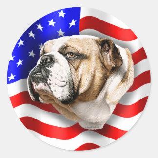 Bulldog Patriot US Flag Classic Round Sticker