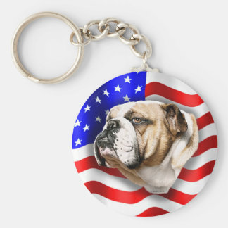 Bulldog Patriot US Flag Basic Round Button Keychain