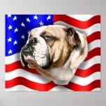 Bulldog Patriot US Flag Posters