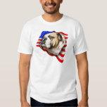 Bulldog Patriot US Flag T Shirt