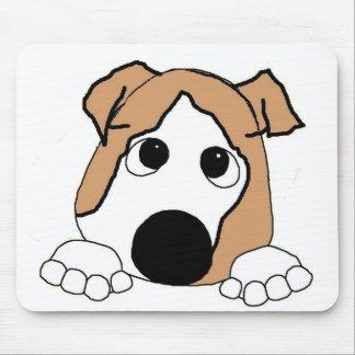 bulldog peeking fawn and white mouse pad