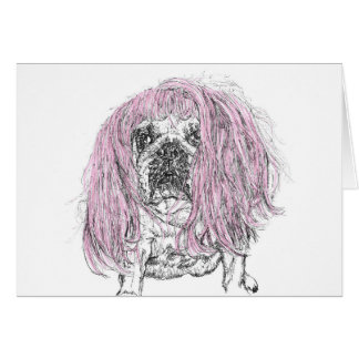 Bulldog Pink Wig Birthday Celebration note Card