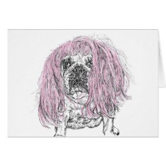 Bulldog Pink Wig Birthday Celebration note Card