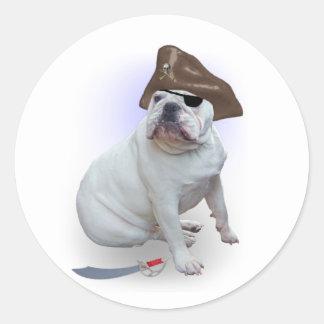 Bulldog Pirate Classic Round Sticker