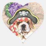 Bulldog Pirate Heart Sticker