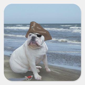 Bulldog Pirate on the beach Square Sticker