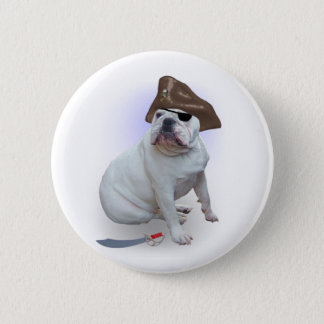 Bulldog pirate pinback button